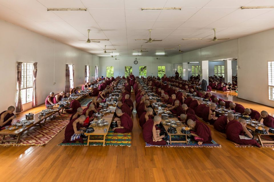 lunch with Monks in Myanmar